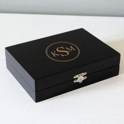 Grandin Road - Personalized Wooden Jewelry Box - Grandin Road - Jewelry box features a velvet lined interior, two removable velvet jewelry inserts, and a snap lock closure. Expertly crafted from smooth, engineered wood in your choice of finish. May be engraved with an encircled block monogram or single block initial, as shown. Due to the natural variation in the wood each engraved initial will be unique. A gift every woman can enjoy, our Personalized Wooden Jewelry Box combines classic appeal with genuine charm and multi-faceted functionality. Add her three-letter monogram or single initial, for free, and you'll be presenting a gift they'll never forget. Velvet-lined interior accepts a variety of rings, earrings, bracelets and necklaces. We'll be happy to put your name on one, too. .  .  .  . Personalized items are not returnable.
