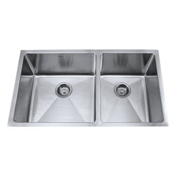 """Kraus - Kraus 33"""" Undermount 60/40 Double Bowl 16 Gauge Stainless Steel Sink Combo Set - Add an elegant touch to your kitchen with a unique and versatile undermount sink from Kraus"""