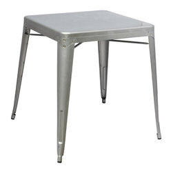 Fine Mod Imports - Talix Dining Table - Contemporary style. Outdoor powder coating protection. Can be used for indoor or outdoor. Warranty: One year. Made from galvanized steel. Silver color. No assembly required. 30 in. L x 30 in. W x 30 in. H (15 lbs.)More than three quarters of century later, the famous chair adopts new look.