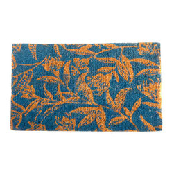 "CocoMatsNMore - CocoMatsNMore Contemporary Blue Leaves Design Coco Doormats - 18"" X 30"" - Eco-friendly Coco Mat are hand-woven and  made from 100% natural coir . These coco doormats are designed to last for a long time and are easy to maintain and clean by either shaking or hosing it down. Designed with fade-resistant dyes they are durable enough to withstand the harshness of weather and look good througout the year. Furthermore, they keep your house clean by doing a fabulous job of trapping the dirt, mud and debris right at the doorstep."
