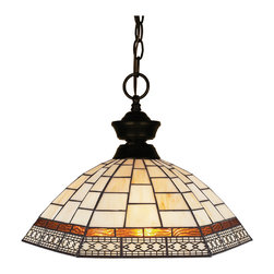 None - Z-Lite 1-light Bronze Pendant Light - This bronze styled pendant is equally at home in the games room as well as anywhere else needing a clean,contemporary touch. Paired sleekly with a Tiffany glass shade,this pendant will be a great addition to any room in the house.