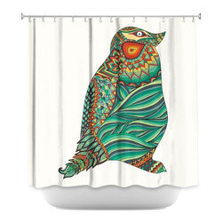 DiaNoche Designs - Shower Curtain Artistic - Ethnic Penguin - DiaNoche Designs works with artists from around the world to bring unique, artistic products to decorate all aspects of your home.  Our designer Shower Curtains will be the talk of every guest to visit your bathroom!  Our Shower Curtains have Sewn reinforced holes for curtain rings, Shower Curtain Rings Not Included.  Dye Sublimation printing adheres the ink to the material for long life and durability. Machine Wash upon arrival for maximum softness. Made in USA.  Shower Curtain Rings Not Included.