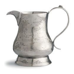 Arte Italica - Vintage Pitcher with Deer - Prancing deer on a genuine pewter pitcher — what a charming addition to your decor. Hand made in Italy using age-old techniques, it lends stately presence as a serving piece on your table, or simply keep it out for display.