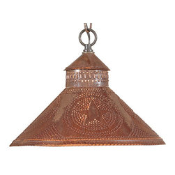 Irvin's Tinware - Stockbridge Shade Lights with Regular Star Design, Rustic Tin - Designed to be smaller in size so that it can be used above a sink or in pairs above a kitchen island. Finished with a fine crimping on the edges and a rustic punched chisel design.