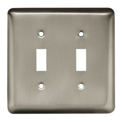 Liberty Hardware - Liberty Hardware 64093 Stamped Round WP Collection 4.96 Inch Switch Plate - A simple change can make a huge impact on the look and feel of any room. Change out your old wall plates and give any room a brand new feel. Experience the look of a quality Liberty Hardware wall plate. Width - 4.96 Inch, Height - 4.9 Inch, Projection - 0.2 Inch, Finish - Satin Nickel, Weight - 0.22 Lbs.