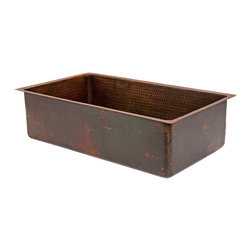"Premier Copper Products - 33"" Hammered Copper Kitchen Single Basin Sink - 33"" Hammered Copper Kitchen Single Basin Sink"
