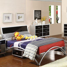 Hokku Designs Modesto Metal Bed in Silver and Black Tones | AllModern