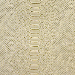 Cayman Sta-Kleen Upholstery Fabric, Platinum - Vinyl pattern suggests a large-scale snakeskin and is suitable for upholstery, cornice/headboards, and other decorative uses. Most stains and marks can be easily wiped away with a dry towel, then washed area with isopropyl alcohol or clean warm water to remove any residue if necessary.