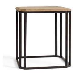 Owen Side Table - I'm a fan of wrought iron, so this end table with a warm wooden top caught my eye.