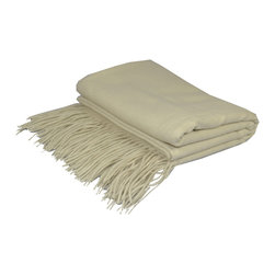 "Pur by Pur Cashmere - Signature Blend Throw Creme  50""x65"" With 6"" Fringe - Merino wool throw. 100% merino wool Dry clean only. Inner mongolia."