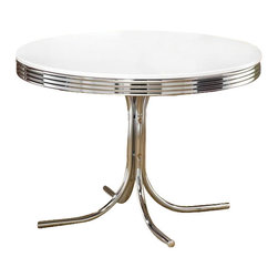 Coaster - Coaster Cleveland Round Chrome Plated Dining Table with White Top - Coaster - Dining Tables - 2388 - Go back in time with the fun and distinctive styling of the Cleveland collection. Retro chrome plated tables chairs and bar stools create a unique 1950's diner appeal. With a number of different looks the Cleveland collection will make a wonderful addition to your pub room game room or casual dining spaces.