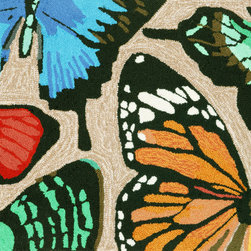 """Trans-Ocean - 24""""x36"""" Frontporch Butterfly Dance Multi Mat - Richly blended colors add vitality and sophistication to playful novelty designs.Lightweight loosely tufted Indoor Outdoor rugs made of synthetic materials in China and UV stabilized to resist fading.These whimsical rugs are sure to liven up any indoor or outdoor space, and their easy care and durability make them ideal for kitchens, bathrooms, and porches. Made in China."""