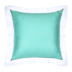 LaCozi - Sateen Tiffany Blue Flange Pillow - A study in contrast: These pillows combine the silky sophistication of a sateen weave with the decidedly more expressive use of colors and texture. You can mix or match these beautiful pintuck flange pillows for brilliant effect on sofa, chair or bed.