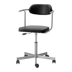 IKEA of Sweden - RUTGER/JULES Swivel chair with casters - Swivel chair with casters, black, silver color