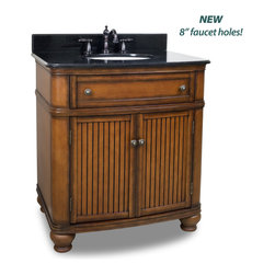 "Hardware Resources - Elements Bathroom Vanity - This 32"" wide MDF vanity has simple beadboard doors and curved shape to accent the traditional cottage feel. The Walnut finish is created by hand, making each vanity unique. A large cabinet, fully functional top drawer fitted around plumbing and interior pull-out drawer, equipped with ball bearing slides, provide ample storage. This vanity has a 2CM black granite top preassembled with an H8809WH (15"" x 12"") bowl, cut for 8"" faucet spread, and corresponding 2CM x 4"" tall backsplash. Overall Measurements: 32"" x 23"" x 35"" (measurements taken from the widest point) - Faucet must be purchased separately"