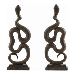 Arteriors - Heath Andirons, Set of 2 - These bold, sculptural andirons are cast in iron and feature a classic thematic element, the snake, which takes center stage in this year's fireplace collection - the year of the snake.