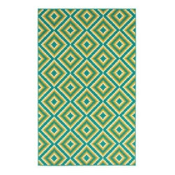"Shaw Living - Indoor/Outdoor Area Rug: Jacqui Turquoise 5' 3 in x 7' 10"" - Shop for Flooring at The Home Depot. Fun, fresh and fabulous is the way to describe Al Fresco. This collection of 15 rugs combines the latest trends in outdoor design with knockout color, for a look certain to add pizzazz to your space. Crisp bright white, canary yellow, apple green, peacock turquoise, spicy orange and candy apple red come together for a palette that is infused with energy. These hues pair with popular designs, such as: whimsical paisley, modern chevron, stripes and floral patterns to create a space as vivid as its natural surroundings. With their fun aesthetic and unmatched durability, this collection can also be used in a teen room or stylish college dorm. Machine woven olefin, cut-pile construction. Sizes available: 5 ft. 3 in. x 7 ft. 10 in. and 7 ft. 10 in. x 10 ft. 6 in."