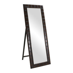 Howard Elliott - Thailand Bamboo Mirror - This Thailand standing mirror is finished in a French brown and features a faux bamboo effect.
