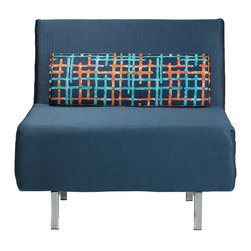 Cortesi Home Savion Convertible Accent Chair Bed Navy