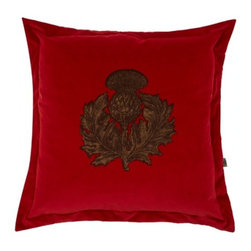 EcoFirstArt - Thistle Cushion - The thistle is the floral emblem of Scotland, making this hand-printed blossom positively regal. Standing out like a crest against a sumptuous velvet background, this thistle is cozy instead of thorny! This charming pillow is available in a range of jewel tones, so pick the perfect hue for your decor.
