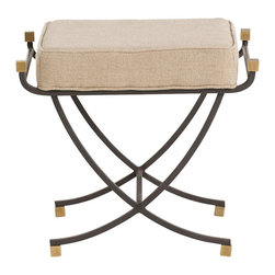 Arteriors - Felice Small Bench - Arching iron frame and square vintage brass accents define the Felice Bench. The square natural linen upholstered top is highlighted with brass finials and natural iron rail details. These are great stools to pull up to a conversation area.