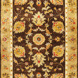 Kas - Mahal Mocha Gold Syriana Oriental 9' x 13' Kas Rug  by RugLots - Unleash the beauty within as you walk through our Syriana Collection. Hand-tufted in India of 100% New Zealand wool, come discover these exquisitely designed and ultra-soft traditional rugs. These pieces combine old-world elegance with trend-setting colors to deliver tapestries for your floors.