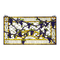 Meyda Tiffany - Meyda Tiffany Custom Grapes Trellis Cabinet Window X-98797 - From the Grapes Trellis Collection, this Meyda Tiffany cabinet window features an intricate trellis design adorned with vineyard grapes. The beautiful shades of purple and green are complimented by the beige and yellow details of the trellis, creating a classic look that delights the eye.