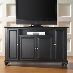 "Crosley - Cambridge 60"" TV Stand - Enhance your living space with one of Crosley's impeccably-crafted TV stands. This signature cabinet accommodates most 60'' flat panel TVs and is handsomely proportioned featuring character-rich details sure to impress. Raised panel doors strategically conceal stacks of CDs/DVDs, gaming components and various media paraphernalia. Open storage area generously houses media players and the like. Adjustable shelving offers an abundance of versatility to effortlessly organize by design, while cord management systems tame the unsightly mess of tangled wires. Customize our distinct cabinets by selecting one of four collection styles (featuring tapered, traditional. turned or bun feet) in your choice of one of three signature Crosley finishes. This customizable cabinet approach is designed for easy assembly, built to ship and constructed to last. Features: -Raised panel doors.-Five adjustable shelves for storing electronic components, gaming consoles, DVDs and other items.-Adjustable levelers in legs.-Recommended TV Type: Flat screen.-TV Size Accommodated: 60"".-Powder Coated Finish: No.-Gloss Finish: No.-Material: Hardwood and veneers.-Solid Wood Construction: No.-Distressed: No.-Exterior Shelves: Yes -Number of Exterior Shelves: 1.-Adjustable Exterior Shelves: No..-Drawers: No .-Cabinets: Yes -Number of Cabinets: 3.-Number of Doors: 4.-Door Attachment Detail: Pin hinge.-Interchangeable Panels: No.-Magnetic Door Catches: Yes.-Cabinet Handle Design: Knob.-Number of Interior Shelves: 5.-Adjustable Interior Shelves: Yes..-Scratch Resistant : No.-Removable Back Panel: No.-Hardware Finish (Finish: Black): Brushed nickel knobs, steel hardware.-Hardware Finish (Finish: Classic Cherry, Vintage Mahogany): Antique brass knobs, steel hardware.-Casters: No .-Accommodates Fireplace: No.-Fireplace Included: No .-Lighted: No .-Media Player Storage: Yes.-Media Storage: No .-Cable Management: Hole in back for wires.-Remote Control Included: No.-Batteries Required: No .-Weight Capacity: 200 lbs.-Swatch Available: No.-Commercial Use: No.-Collection: Alexandria.-Eco-Friendly: No.-Recycled Content: No .-Lift Mechanism: No.-Expandable: No.-TV Swivel Base: No.-Integrated Flat Screen Mount: No.-Hardware Material: Steel.-Product Care: Use a soft clean cloth that will not scratch the surface when dusting. Use of furniture polish is not necessary. Should you choose to use a furniture polish, test in an inconspicuous area first. Use os solvents of any kind could damage your furniture's finish. To clean, simply use a soft cloth moistened with lukewarm water, then buff with a dry soft clean cloth..Specifications: -ISTA 3A Certified: Yes.-FSC Certified: No.-General Conformity Certified: No.-CSA Certified: No.-EPP Certified: No.Dimensions: -Overall Height - Top to Bottom: 36"".-Overall Width - Side to Side: 59.75"".-Overall Depth - Front to Back: 18"".-Drawer: .-Shelving: Yes.-Cabinet: -Cabinet Interior Height - Top to Bottom: 22.5"".-Cabinet Interior Height - Top to Bottom: 29.25"".-Cabinet Interior Width - Side to Side: 31.2"".-Cabinet Interior Width - Side to Side: 12"".-Cabinet Depth - Front to Back: 14.75""..-Legs: Yes.-Overall Product Weight: 123 lbs.Assembly: -Assembly Required: Yes.-Tools Needed: Allen wrench (included) and screwdriver.-Additional Parts Required: No .Warranty:"
