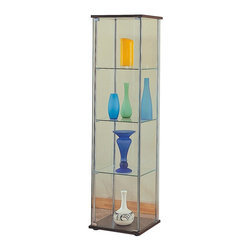 Coaster - Four Shelves Glass Curio Cabinet - Rectangular box shape. Made from wood veneers and solids. Cappuccino top and bottom. 17 in. W x 14 in. D x 63.75 in. H. WarrantyThis glass curio cabinet takes a contemporary approach to the traditional curio cabinet. Place in your home office, dining space, or living area and present your home accents in style for people to see from all angles.