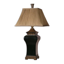 Uttermost - Delmar Black Table Lamp - For a dramatic, high textured accent piece, this ebony glazed lamp will catch your eye and your interest. The porcelain base has sandstone accents that pair beautifully with the ribbed square bell shade.