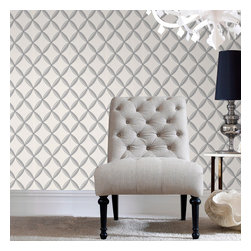 Graham & Brown - Anis Wallpaper - Our interesting geometric lattice design wallpaper with fine mica chevron detailing. Finished with a sinewy linear emboss to add an organic twist, to your home our white, silver, grey wallpaper will look amazing in any room