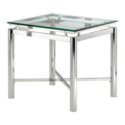 Steve Silver - Steve Silver Nova 24 Inch Square End Table - Bring perfection and brilliance to your home with the Nova End Table. A glass top and chrome x pattern base will make this collection your rooms centerpiece for years to come. What's included: End Table (1).