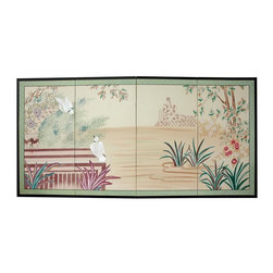 Oriental Unlimted - 36 in. Tall Lush Garden Wall Art - The Lush Garden motif predates the Song dynasty, and is beautifully interpreted here. Subtle and beautiful hand-painted wall art for a fraction of the cost of a comparable print. Large hand-painted ink and watercolor silk screen. Song dynasty (10th century China) brush art style. Can be displayed as a privacy screen. Can be folded partly to stand upright on a table or floor. Crafted from silk covered paper, glued over 4 side-by-side lacquered wood frames. Matted with a fine Chinese silk brocade border. Comes with lacquered brass geometric hangers for easy mounting. Note that no 2 renderings are exactly the same. 72 in. W x 0.63 in. D x 36 in. H