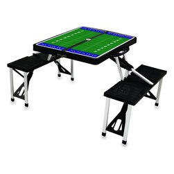 "Picnic Time - James Madison University Picnic Table Sport in Black - Picnic Time's portable Picnic Table is a compact fold-out table with bench seats for four that you can take anywhere. The legs and seats fold into the table when collapsed so the item is easy to store and transport. It has a maximum weight capacity of 250 lbs. per seat and 20 lbs. for the table. The seats are molded polypropylene with a basket weave pattern in the same color as the ABS plastic table top. The frame is aluminum alloy for durability. The Picnic Table is ideal for outdoor or indoor use, whenever you need an extra table and seats. It includes a hole in the center of the table to accommodate a standard sized beach umbrella (having a pole that is 1.25"" diameter or less). Pair it up with Picnic Time's multi-colored stripe Umbrella (812-00-996) or solid colored Umbrella 5.5 (822-00) in red, green, blue or black, sold separately.; College Name: James Madison University; Mascot: Dukes; Decoration: PT Sports"