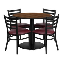Flash Furniture - Flash Furniture Restaurant Furniture Table and Chairs X-GG-8001BRSR - 36'' Round Walnut Laminate Table Set with 4 Ladder Back Metal Chairs - Burgundy Vinyl Seat [RSRB1008-GG]