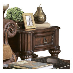 Homelegance - Homelegance Prenzo 26 Inch End Table with Drawers in Brown - European elegance at its best. Flowing lines, detailed carvings, beautiful veneer treatments and grand scale are some of the many design elements of our Prenzo collection .