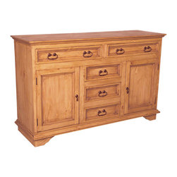 Pine Rustic Sideboard - Beautiful and traditional buffet with rustic accents. Solid wood construction and iron hardware.