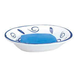 Renovators Supply - Soap Dishes Blue/White Ceramic Soap Dish Neptune - Bathroom Accessories: Neptune ceramic soapdish is a pretty addition to any bath with a deep sea blue glazed design on a natural white background.  Soap bar not included. Measures 1 1/2 in. H x 6 1/4 in. W x 4 3/4 in. proj.