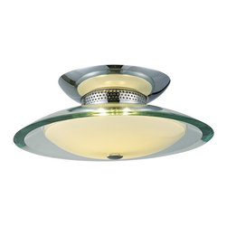 """ET2 - Curva Chrome Round 2-Light 12"""" Wide Ceiling Light - Beveled glass gently curves downward giving this flushmount a sophisticated look. A round white glass diffuser softens the light and adds elegance. Upgrade your ceiling with this distinctive fixture. Chrome finish. Clear and white glass. Includes two 50 watt G9 xenon bulbs. 12"""" wide. 5"""" high.  Chrome finish.  Clear and frosted glass.  Includes two 50 watt G9 xenon bulbs.  12"""" wide.  5"""" high."""