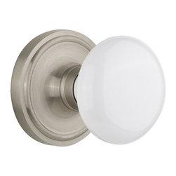 Nostalgic - Nostalgic Privacy-Classic Rose-White Porcelain Knob-Satin Nickel (NW-702206) - Classic Rose with White Porcelain Knob - Privacy