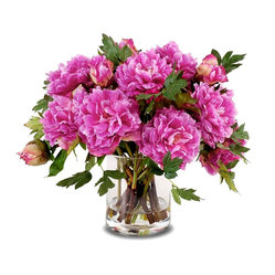 New Growth Designs - Peony Bouquet in Cylinder Vase, Fuchsia - Enjoy this beautiful peony bouquet for happily ever after. Striking as the real thing yet with the staying power of silk, this arrangement in a weighty glass vase adds color and drama to your favorite setting.