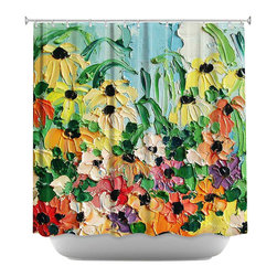 DiaNoche Designs - Shower Curtain Artistic - Wildflowers II - DiaNoche Designs works with artists from around the world to bring unique, artistic products to decorate all aspects of your home.  Our designer Shower Curtains will be the talk of every guest to visit your bathroom!  Our Shower Curtains have Sewn reinforced holes for curtain rings, Shower Curtain Rings Not Included.  Dye Sublimation printing adheres the ink to the material for long life and durability. Machine Wash upon arrival for maximum softness. Made in USA.  Shower Curtain Rings Not Included.