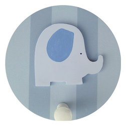 Wish Upon A Star - Blue and Grey Elephant Wall Peg - Set of Two - Blue and Grey Elephant Wall Peg - Set of Two