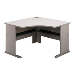 Bush Business - Corner Desk in Pewter - Series A - Save on space with this corner desk that is great at home or in a office.  With this corner desk you will have ample leg room to sit comfortably or store some of the office equipment, and also desk space for working as required to be professional at all times.  From CEOs and executive assistants to college students and home office workers, this computer desk defined by stylish diamond cut design features includes ample space for computers and all your clerical accessories.  Most importantly, the scratch and stain resistant steel with modern pewter finish will keep you happy for years to come. * Diamond Coat� top surface is scratch and stain resistant. Steel insert in molded feet w levelers. Top and leg wire access/concealment. Pewter finish. Item ships ready for easy assembly. 47.25 in. W x 47.25 in. D x  29.875 in. D