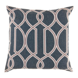 Surya Rugs - 22-Inch Square Ink, Caper Green, and Papyrus Patterned Pillow Cover with Down In - - 22 x 22 90% Polyester and 10% Linen Pillow Cover w/ Down Insert.   - For more than 35 years, Surya has been synonymous with high quality, innovation and luxury.   - Our designers have masterfully created some of the most cutting edge and versatile pieces to bring out the best in every room.   - Encompassing their expert understanding of the latest trends in fashion and interior design, each product is a perfect combination of color, pattern and texture to accommodate the widest range of tastes.   - With Surya, the best in design and quality is at your fingertips.   - Pantone: Ink, Caper Green, Papyrus.   - Made in China.   - Care Instructions: Spot Clean.   - Cover Material: 90% Polyester/10% Linen.   - Fill Material: Down. Surya Rugs - FF001-2222D