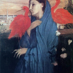 """Edgar Degas Woman on a Terrace (also known as Young Woman and Ibis) - 18"""" x 24"""" - 18"""" x 24"""" Edgar Degas Woman on a Terrace (also known as Young Woman and Ibis) premium archival print reproduced to meet museum quality standards. Our museum quality archival prints are produced using high-precision print technology for a more accurate reproduction printed on high quality, heavyweight matte presentation paper with fade-resistant, archival inks. Our progressive business model allows us to offer works of art to you at the best wholesale pricing, significantly less than art gallery prices, affordable to all. This line of artwork is produced with extra white border space (if you choose to have it framed, for your framer to work with to frame properly or utilize a larger mat and/or frame).  We present a comprehensive collection of exceptional art reproductions byEdgar Degas."""