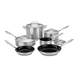 Cuisinart - Cuisinart GGT-10 Gourmet 10pc Tri-Ply Stainless Steel Cookware Set - This set of cookware is made with durable Tri-Ply stainless steel. Great for any kitchen,this set includes saucepans,stockpot,skillet and more with covers to help the cooking.