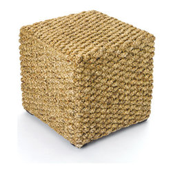 Go Home - Woven Beach Combers Cube - Our Beach House stool represents the height of sophistication in Coastal living! We love a group of these simply stylish stools in front of our denim couch.