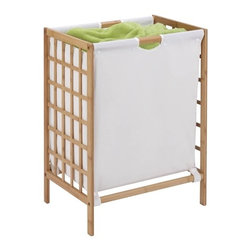 Bamboo Grid Frame Hamper - Honey-Can-Do HMP-03770 Knockdown Bamboo Hamper, Natural. Complete with a bamboo frame and cloth bag, this hamper looks as good as it is functional. The liner is machine washable and can easily be removed for cleaning. The square pattern on the bamboo frame adds stability and a contemporary flare. Unit assembles quickly and easily.