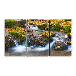 Vibrant Canvas Prints - Canvas Art Prints, Framed Huge Canvas Print 5 Panel Sea Beach - This is a beautiful, 100% quality cotton canvas print. This print is perfect for any home or office, and will make any room shine with its addition of color and beauty.  - Modern Home and Office Interior Decor   Leaves Canvas Designs - 3 Panel Print   Autumn Leaves Print on Canvas - Wall Art - 30 Day Money Back Guarantee.